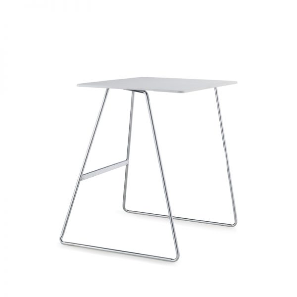 white table with chrome base