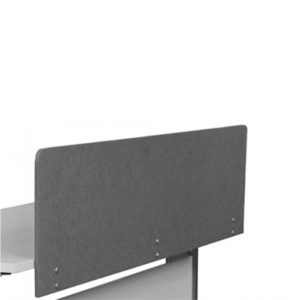 Grey screen attached to desk