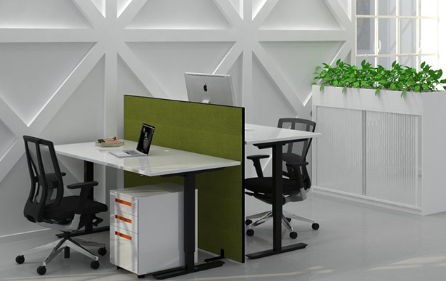 sit stand desks with green screen between and tambour storage