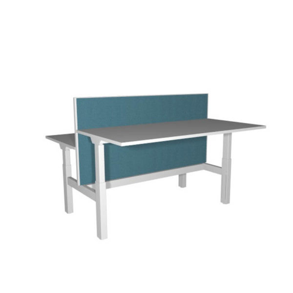 sit stand desk with blue screen