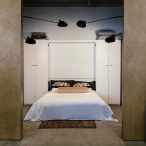 Foldaway bed with cabinets