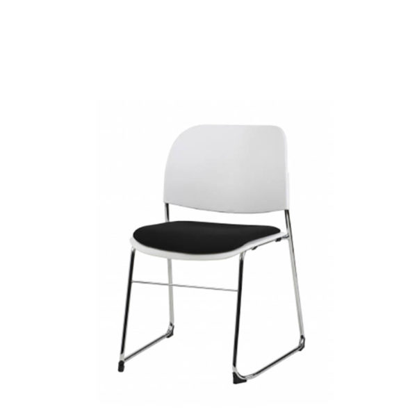 White chair with black seat