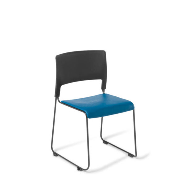Black chair with blue seat