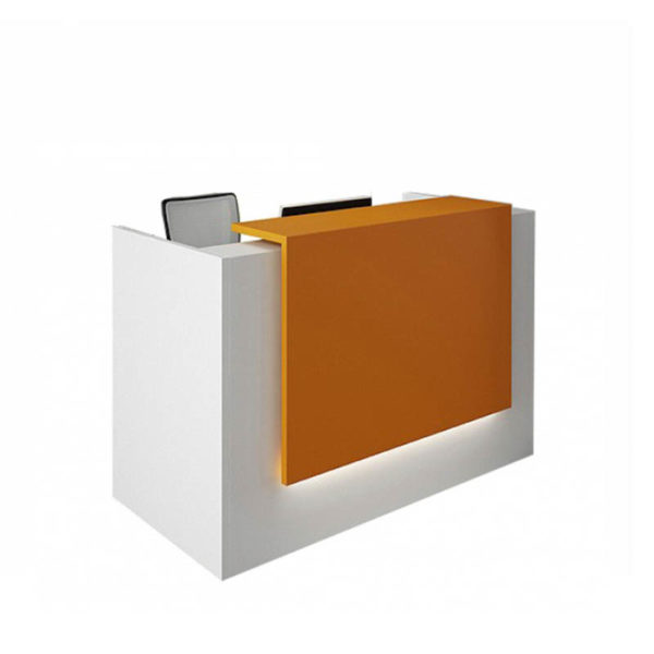White reception with orange feature panel
