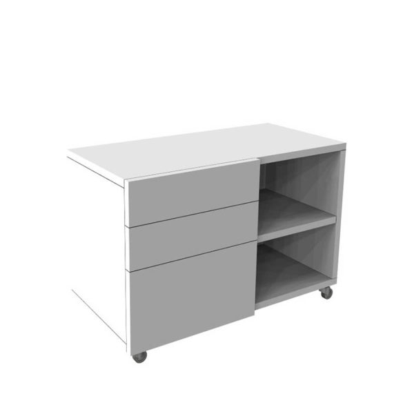 white mobile caddy with shelf and 3 drawers