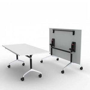White table with black stem chrome foot