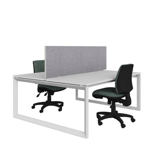 White back to back desk with grey screen