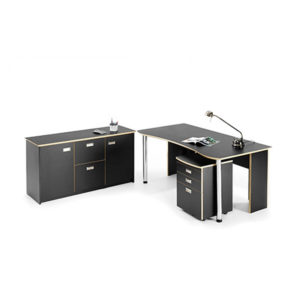 Black executive desk and credenza