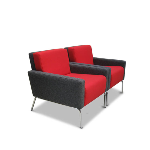 Grey and red single seater
