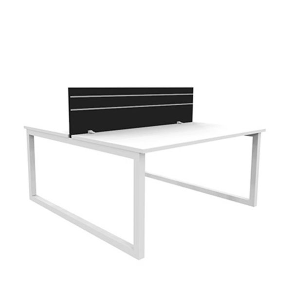 white back to back desk with black screen