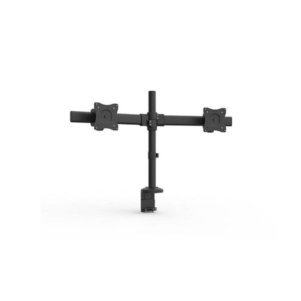 black double monitor arm