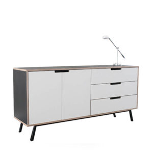 Black and white ply credenza with 2 doors 3 drawers