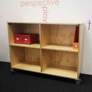 natural ply bookcase on castors