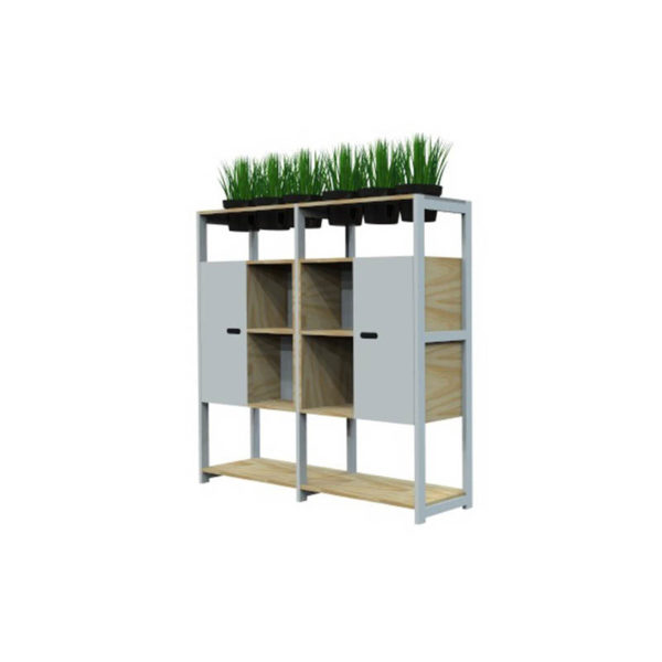 white and timber shelving and storage with plants
