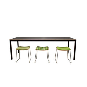 Black table with green stools