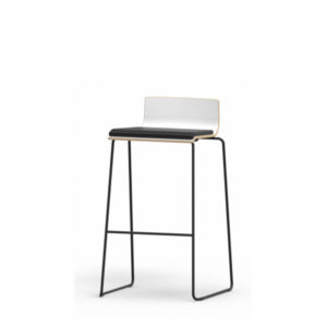 White stool with black legs