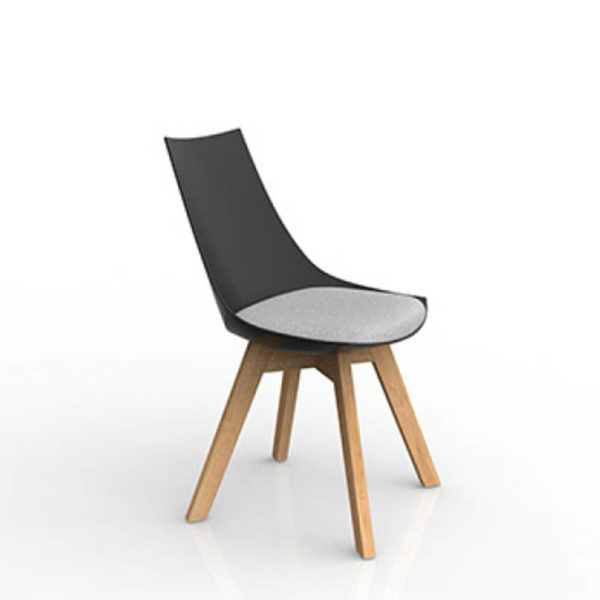 Black chair with grey seat timber frame