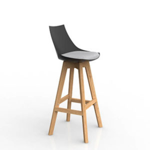Black stool with grey seat timber legs