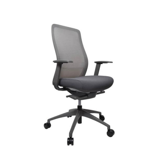 grey mesh back office chair with arms