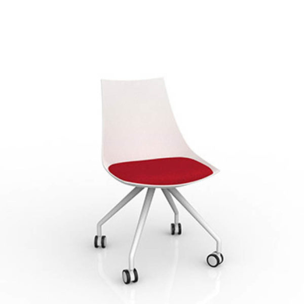 White luna chair red seat