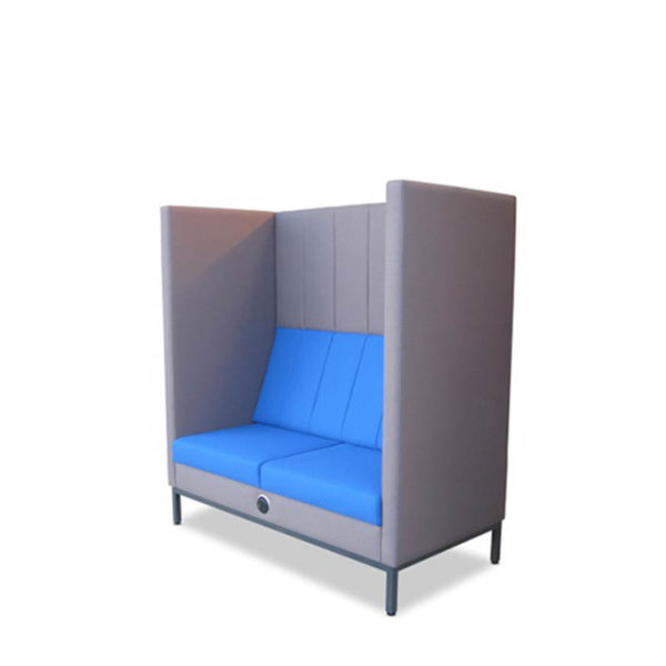 Grey booth seat with blue seat and back