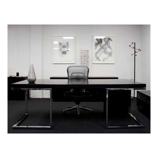 Black executive desk with chrome legs