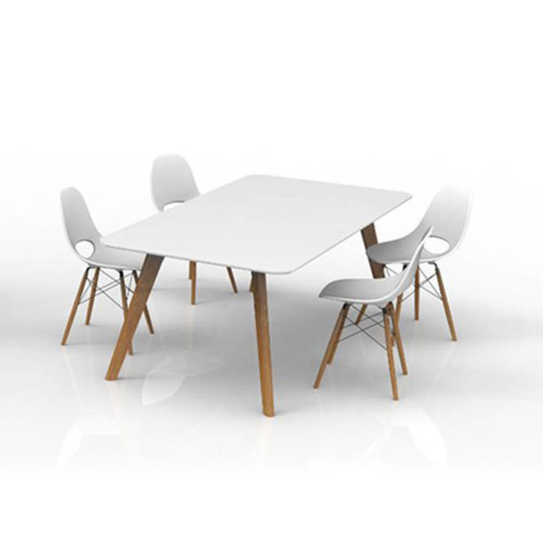 White meeting table and chairs