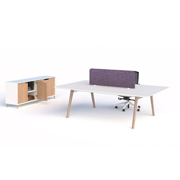 desk white top timber legs