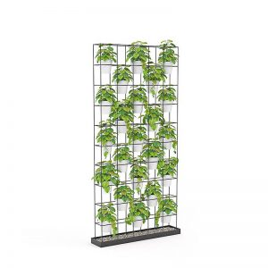 plant wall divider with plants and pots