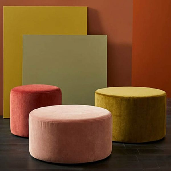 ottomans in plush fabric