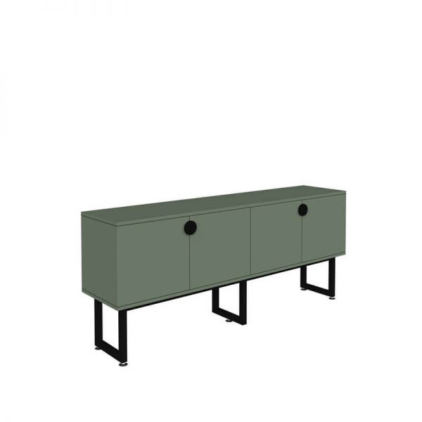 Green credenza with black base