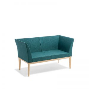 Blue sofa with timber legs