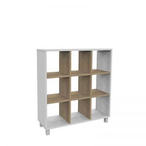 White and timber coloured cube shelving