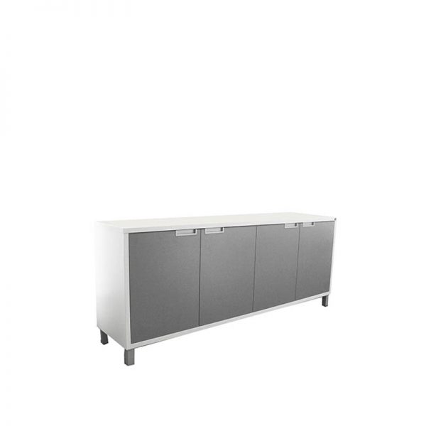 white credenza with silver doors