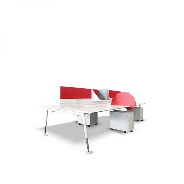 White desk pod with red screens