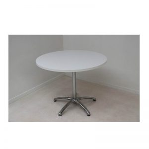 white round table and chrome base