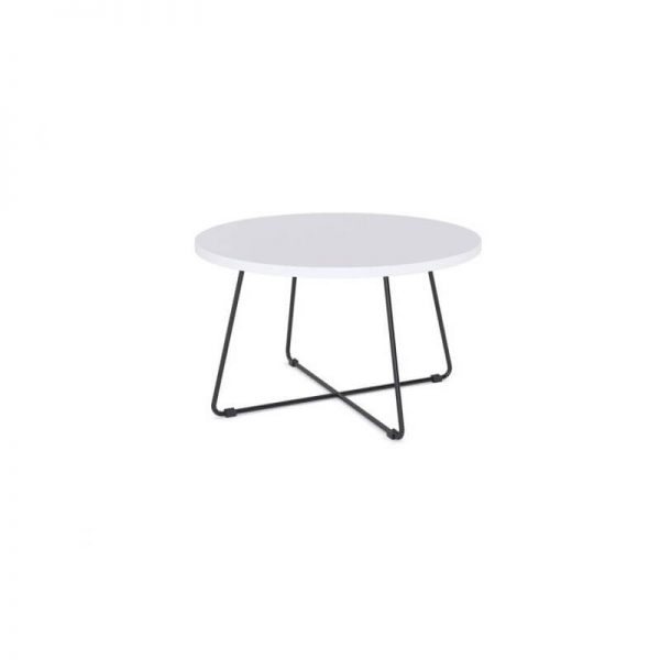 Coffee table with white top black base