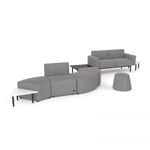 Sofa seating with modular ottomans . Grey fabric