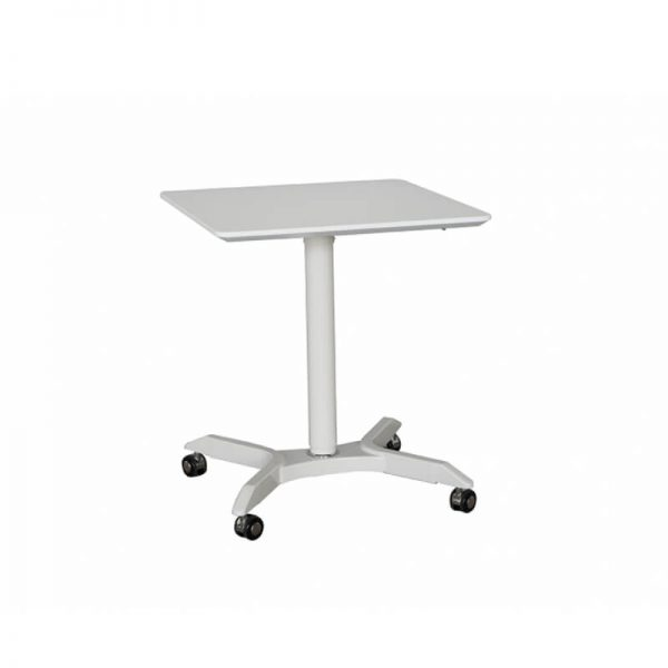 square table with white base on castors