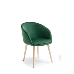 green chair with timber legs
