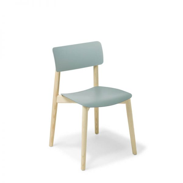 Chair with blue back and seat. Timber frame