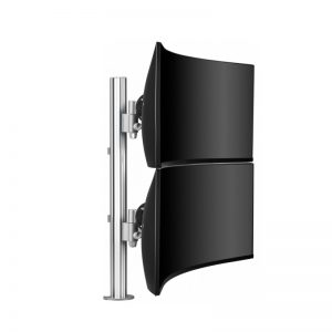 Monitor arm silver with 2 curved screens