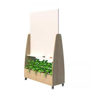 Mobile whiteboard with plants below