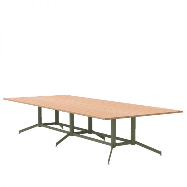 Timber top table with green base