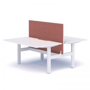 White back to back desk with red screen