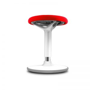 Stool with red seat, white frame