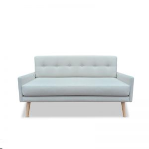 2 Seater sofa with buttons on back. Light timber legs. Light upholstery