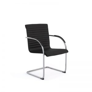 Black visitor chair with ribbed stitching to back, chrome base