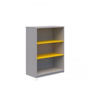 Bookcase silver Strata with 2 yellow shelves