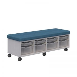 Bench with storage below teal seat